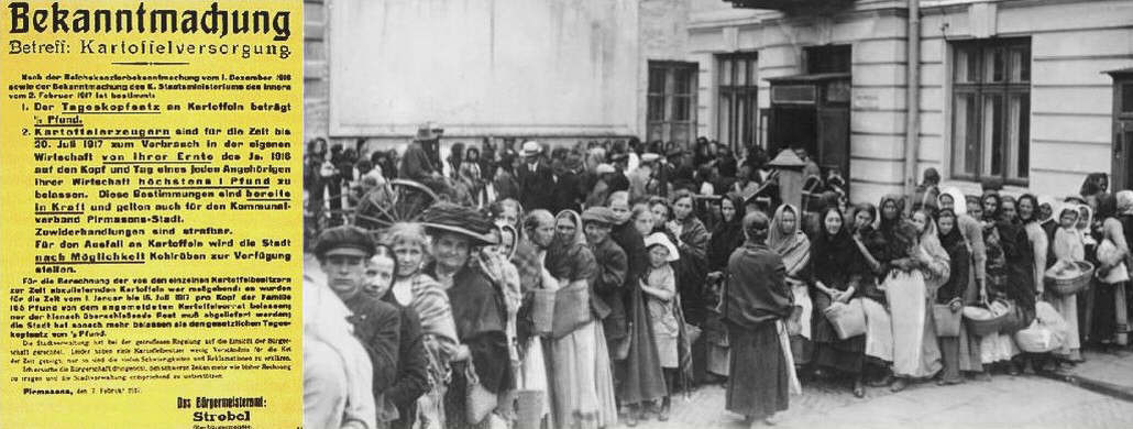 People waiting in queue for bread